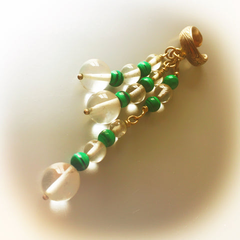 Malachite Green Ear Cuff Single Earrings Vintage Jewelry