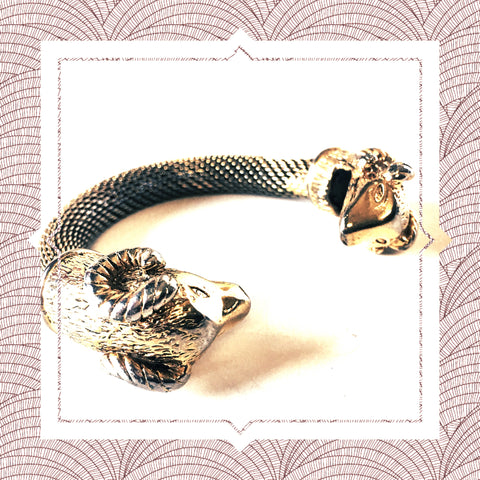 Twin Ram Head Wild Animals Bangle Figural Vintage Jewelry