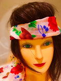 Floral Scarf Long Strip Headscarf Sheer Red Flowers