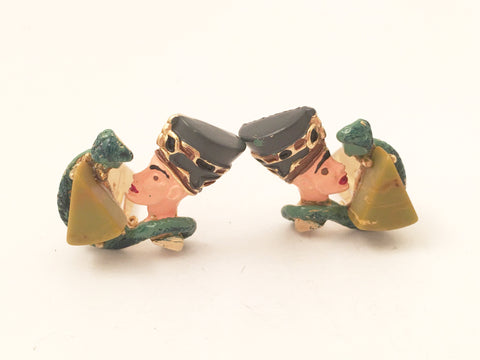 Hobe Figural Clip on Earrings Costume Vintage Jewelry