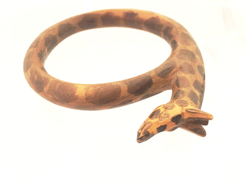 Wooden Giraffe Bangle Ethnic Bracelet Handcrafted Jewelry