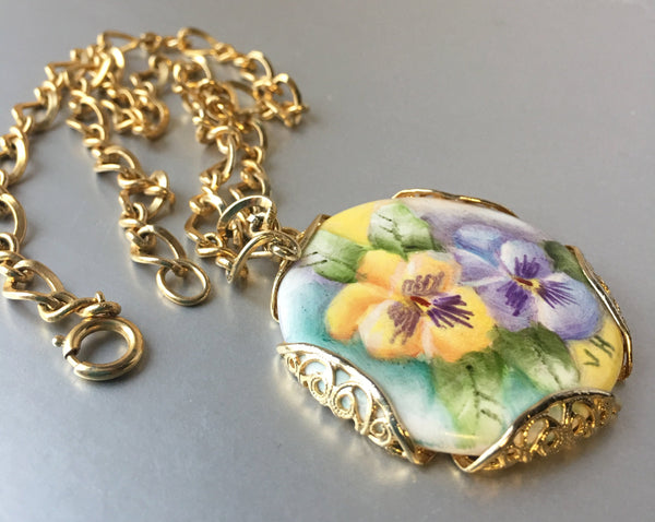 Handmade Floral Ceramic Pendant Golden Chain Link Necklace Vintage Jewelry