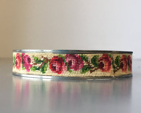 Needlepoint Tapestry Floral Embroidered Bangle Bracelet Vintage Jewelry