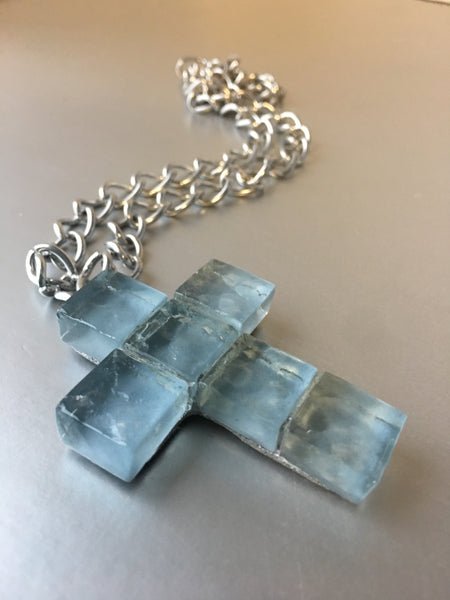 Blue Glass Cross Pendant Silver Chain Link Necklace Jewelry