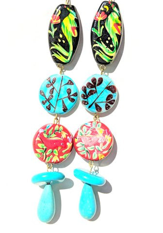 Sugar Gay Isber Floral Statement Earrings Contemporary Jewelry