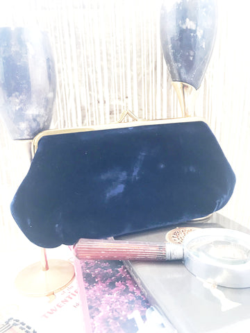 Waldman NY Navy Velvet Clutch Vintage Accessories