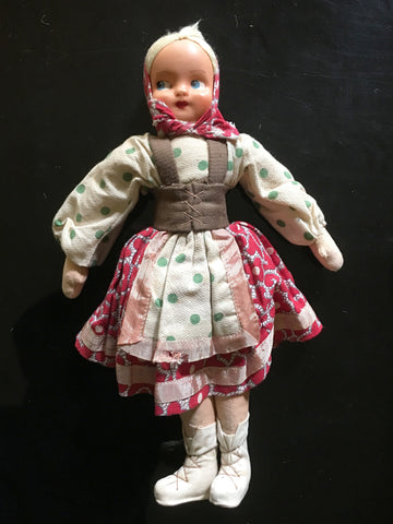 Polish Girl Doll Adorable Apron Dress Boots Vintage Decor