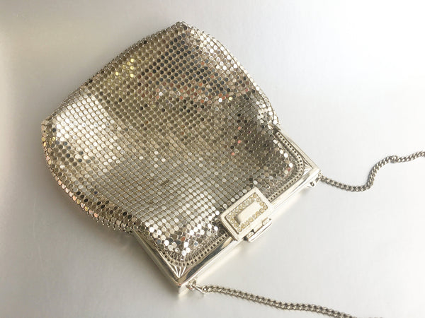 Silver Mesh Metal Purse Shoulder Bag Vintage Accessory