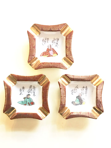 Vintage Set 3 Ashtray Figural Hand Painted Home Decor