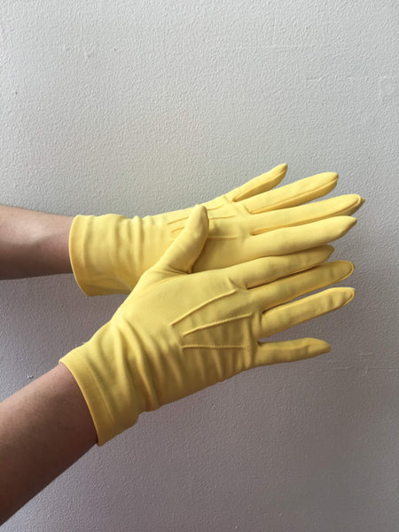 Yellow Nylon Gloves Vintage Accessory