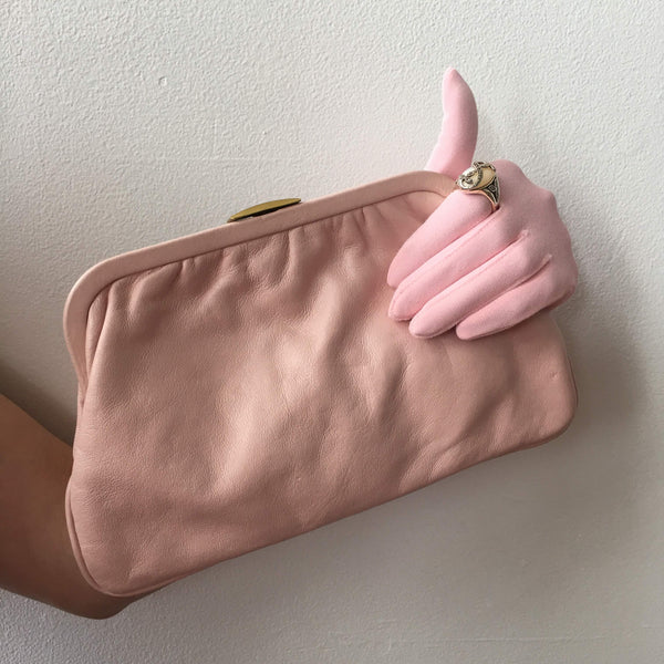 Pink Leather Clutch Bag Vintage Accessories