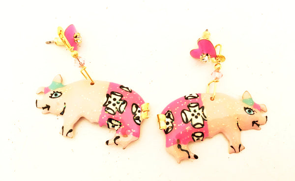 Lunch at the Ritz Earrings Pink Pigs Whimsical Jewelry