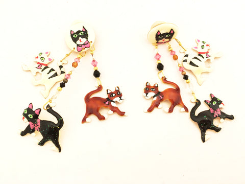 Lunch at the Ritz Earrings Kitty Cat Kitties Whimsical Jewelry