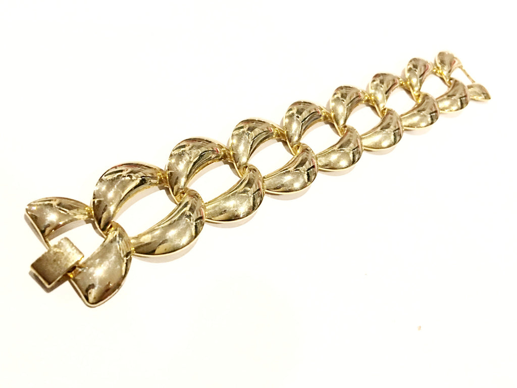 Golden Chain Link Bracelet Vintage Jewelry Bold Gold Statement