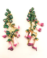 Lunch at the Ritz Couture Earrings Foxy Flowers Whimsical Jewelry