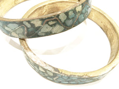 Set of 2 Brass Bangles Turquoise Bracelet True Vintage Jewelry