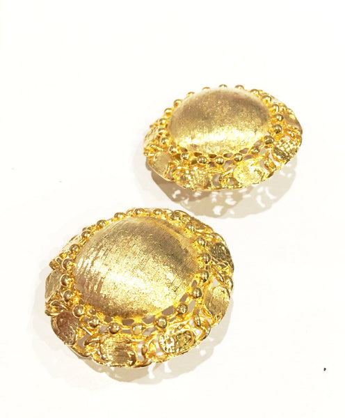 Golden Brushed Clip on Earrings Vintage Jewelry