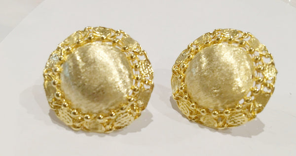 Brushed Golden Bold Clip on Earrings Vintage Jewelry