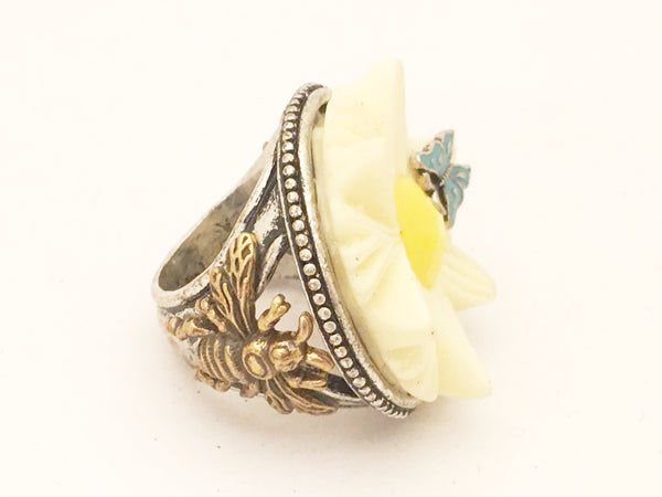 Butterfly Bee Bug Insect Jewelry Floral Cocktail Ring Nand