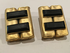 Modernist Stunning Clip on Earrings Golden Black Vintage Jewelry Hollow light weight
