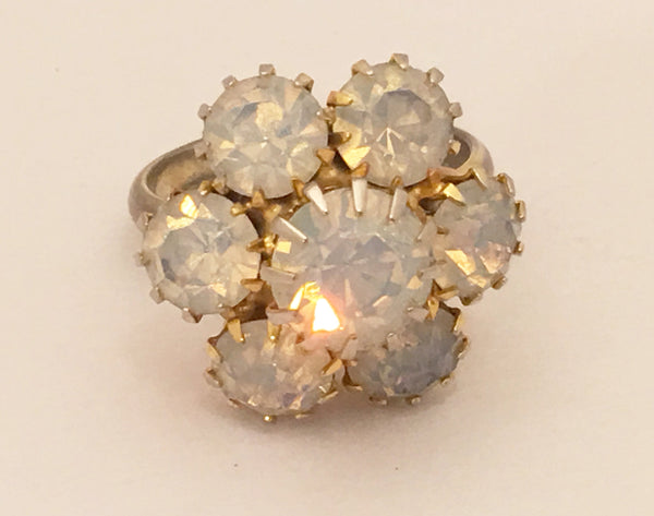 Vintage Cocktail Ring Opal Rhinestones Costume Jewelry