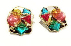 Handmade Vintage Clip Earrings Modernist Colorful Amazing Jewelry Unique