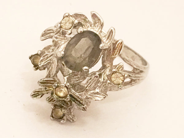 Brutalist Cocktail Ring Multiple Rhinestones Vintage Jewelry