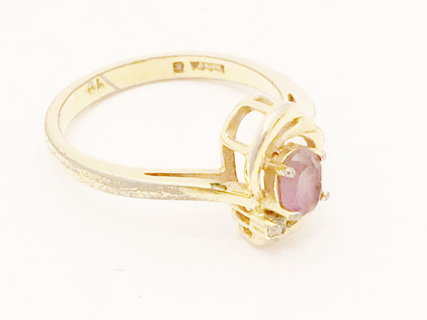 Gold Plated Vintage Ring Plum Diamond Rhinestones Costume Jewelry