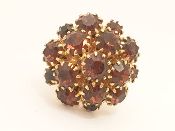 Vintage Cocktail Ring Amber Rhinestones Costume Jewelry
