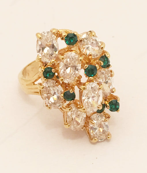 18 Kt Gold Plated Vintage Cocktail Ring Rhinestones Costume Jewelry