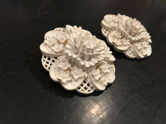 White Floral Clip on Earrings Molded Flowers Dimensional Garden Vintage Jewelry