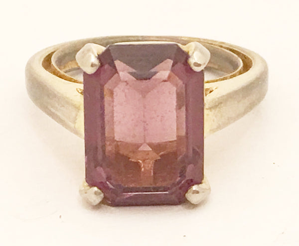 Vintage Cocktail Ring Purple Solitaire Costume Jewelry