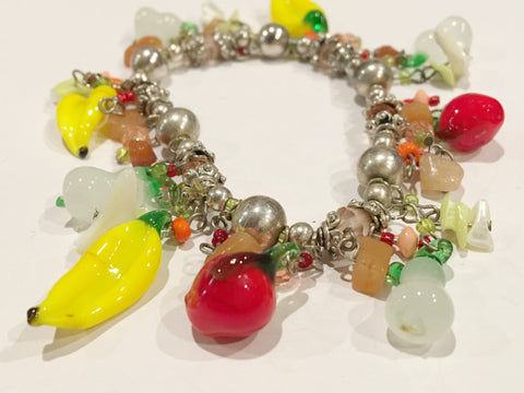 Fruit Salad Vintage Jewelry Veggies and Fruits Charm Bracelet