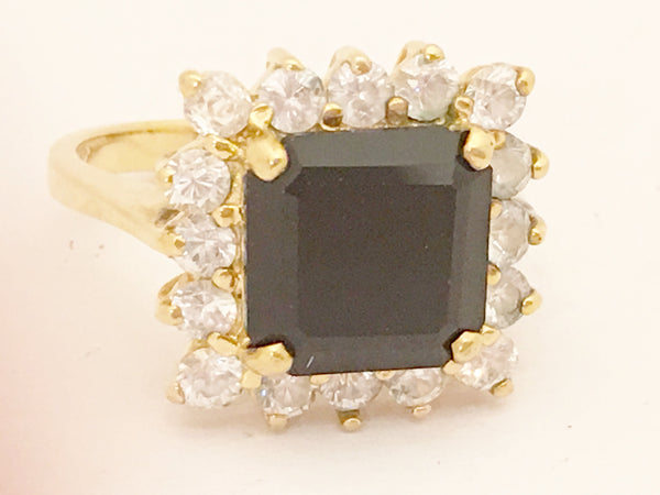 Art Deco 925 Sterling Silver Diamond Ring Golden Costume Jewelry