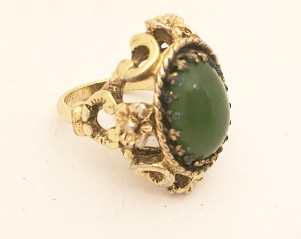 18 Kt Gold Plated Vintage Cocktail Ring Victorian style Costume Jewelry
