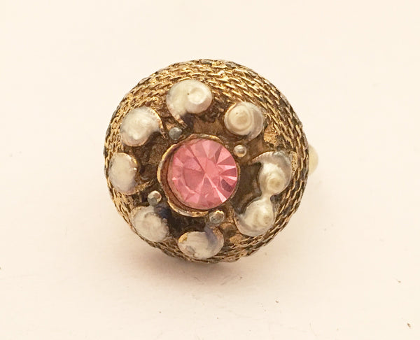 Vintage Cocktail Ring Blister Pearls Pink Rhinestone Costume Jewelry