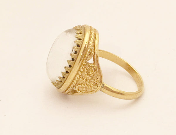 Victorian Cocktail Ring Gold Plated Vintage Costume Jewelry