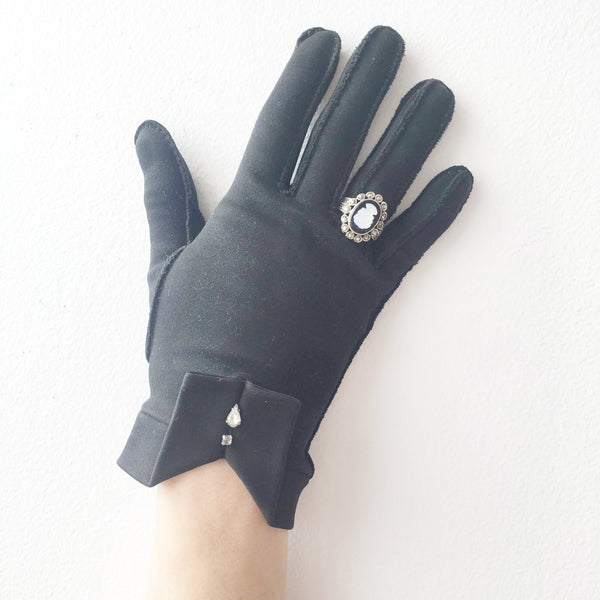 Black Gloves with Rhinestones Vintage Accessory