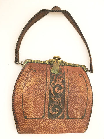 Art Nouveau Leather Bag Arts and Crafts Vintage Handbags