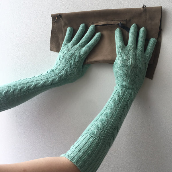 Mint Long Knit Gloves Vintage Accessory