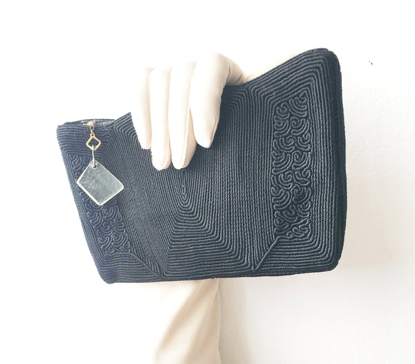 Black Yarn Coil Clutch Bag Vintage Accessories