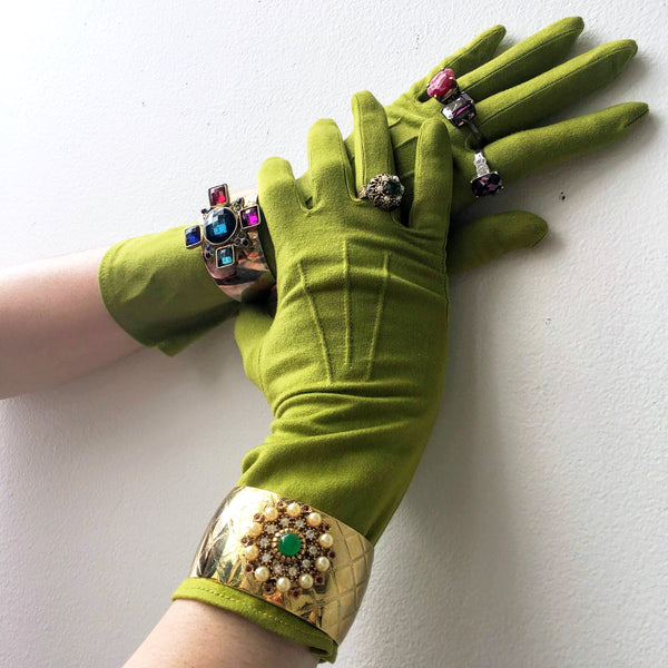 Long Green Rayon Gloves Vintage Accessory