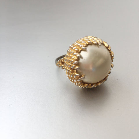 Marvella Pearl Cocktail Ring Vintage Jewelry
