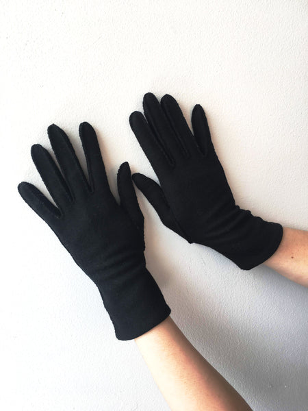 Black Wool Gloves Vintage Accessory