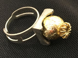 Golden Silver Cocktail Ring Statement Vintage Jewelry
