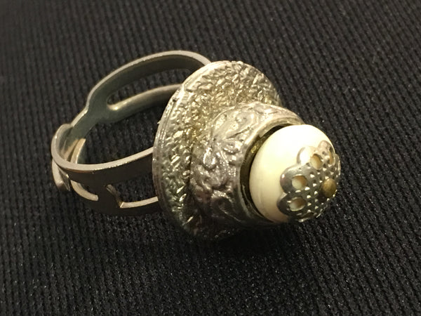 White Silver Cocktail Ring Statement Vintage Jewelry