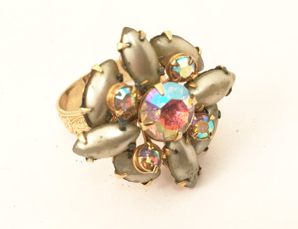 Gray Pearls AB Crystals Cocktail Ring Statement Vintage Jewelry