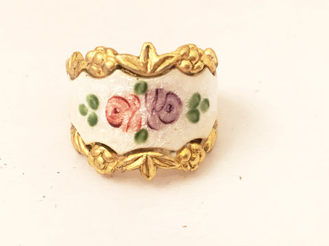 enameled floral ring vintage jewelry