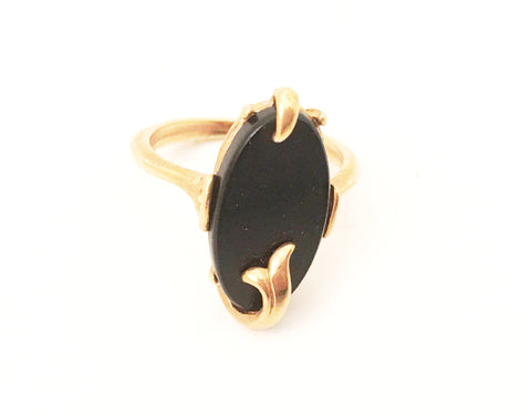 Avon Vintage Jewelry Black Ring Art Nouveau Style