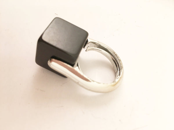 Black Silver Modernist Cubic Cocktail Ring Vintage Plastic Jewelry